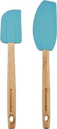 KitchenAid KE650OHAQA Classic Bamboo Spatula Set, Set of 2, Aqua Sky