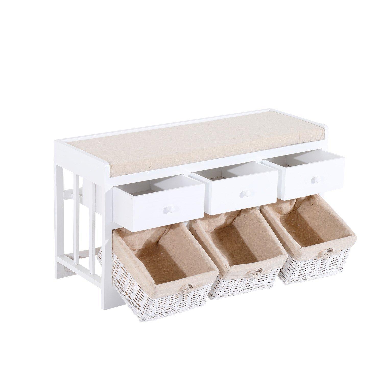 homcom Panca Portaoggetti in Legno con Cassetti e Ceste in Vimini 98 x 34 x 52cm Bianco