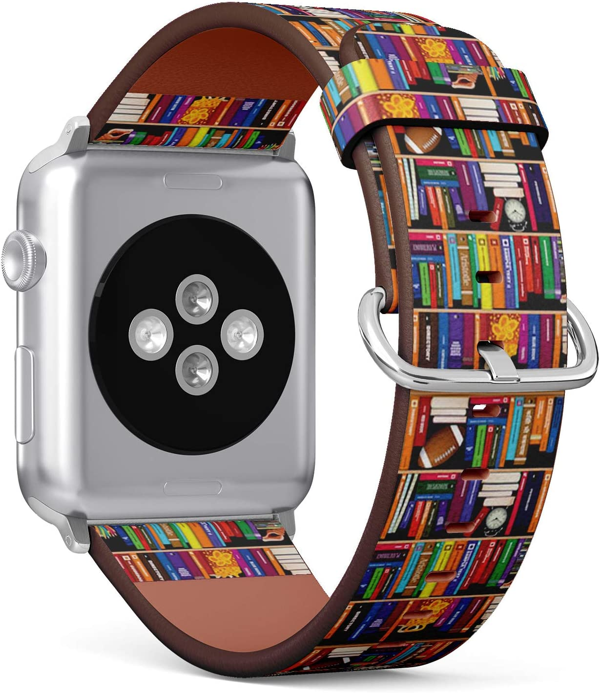 Compatible with Apple Watch Series 5, 4, 3, 2, 1 (Small Version 38/40 mm) Leather Wristband Bracelet Replacement Accessory Band + Adapters - Book Shelf