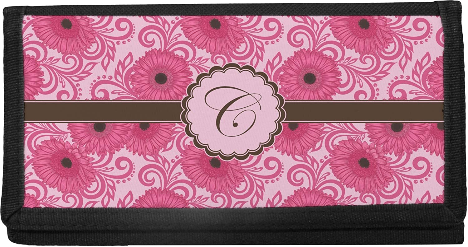 Personalized Gerbera Daisy Canvas Checkbook Cover