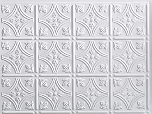 One 18 x 24 Panel FAS/ÄDE Monaco Decorative Vinyl Backsplash Panel in Gloss White