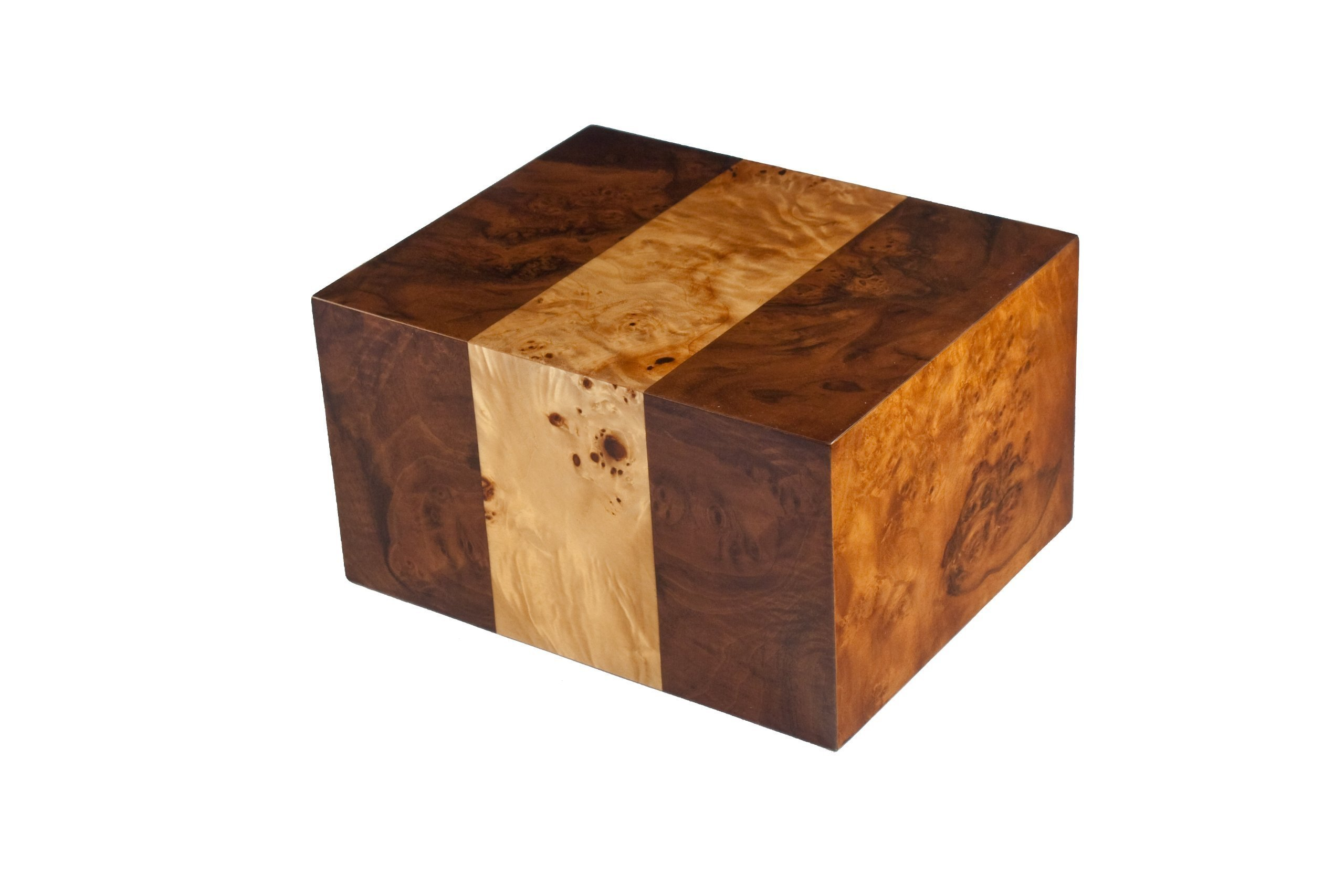 Chateau Urns in Maple Burl wood urn with Walnut Side Inlays, Adult Cremation Urn, Large