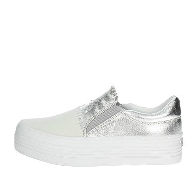 Zinah Metal Canvas/Flocking, Zapatillas sin Cordones para Mujer, Plateado (Svw 000), 39 EU Calvin Klein Jeans