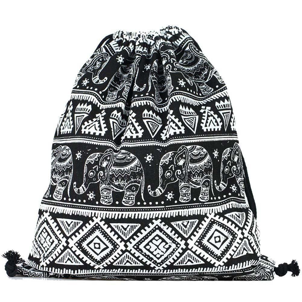 DANUC Gym Sack Bag Drawstring Backpack Sport Bag for Men & Women School Travel Backpack (Elephant)