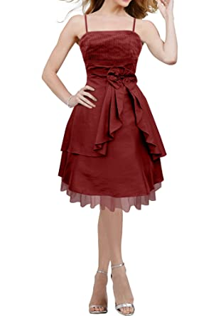 BlackButterfly Lola Clarity Satin Floral Bow Prom Dress (Burgundy, UK 12)