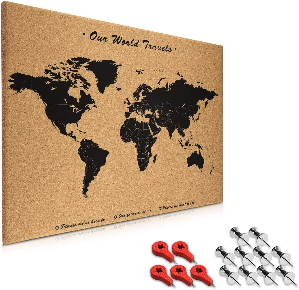 Navaris Cork Board World Map - 20 x 28 in Bulletin Memo Corkboard in World Map Design with 15x Push Pins for Kitchen, Classroom, Home Office, Bedroom
