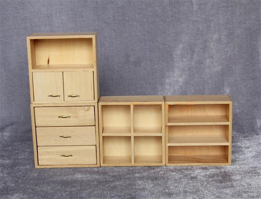 1//12 Scale Dollhouse Miniature Living Room Wooden 4-Drawer Cabinet Furniture