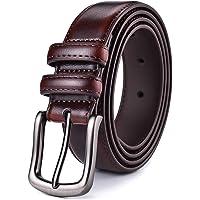 Men's Belt, Xhtang Men Genuine Leather Dress Belt with Single Prong Buckle