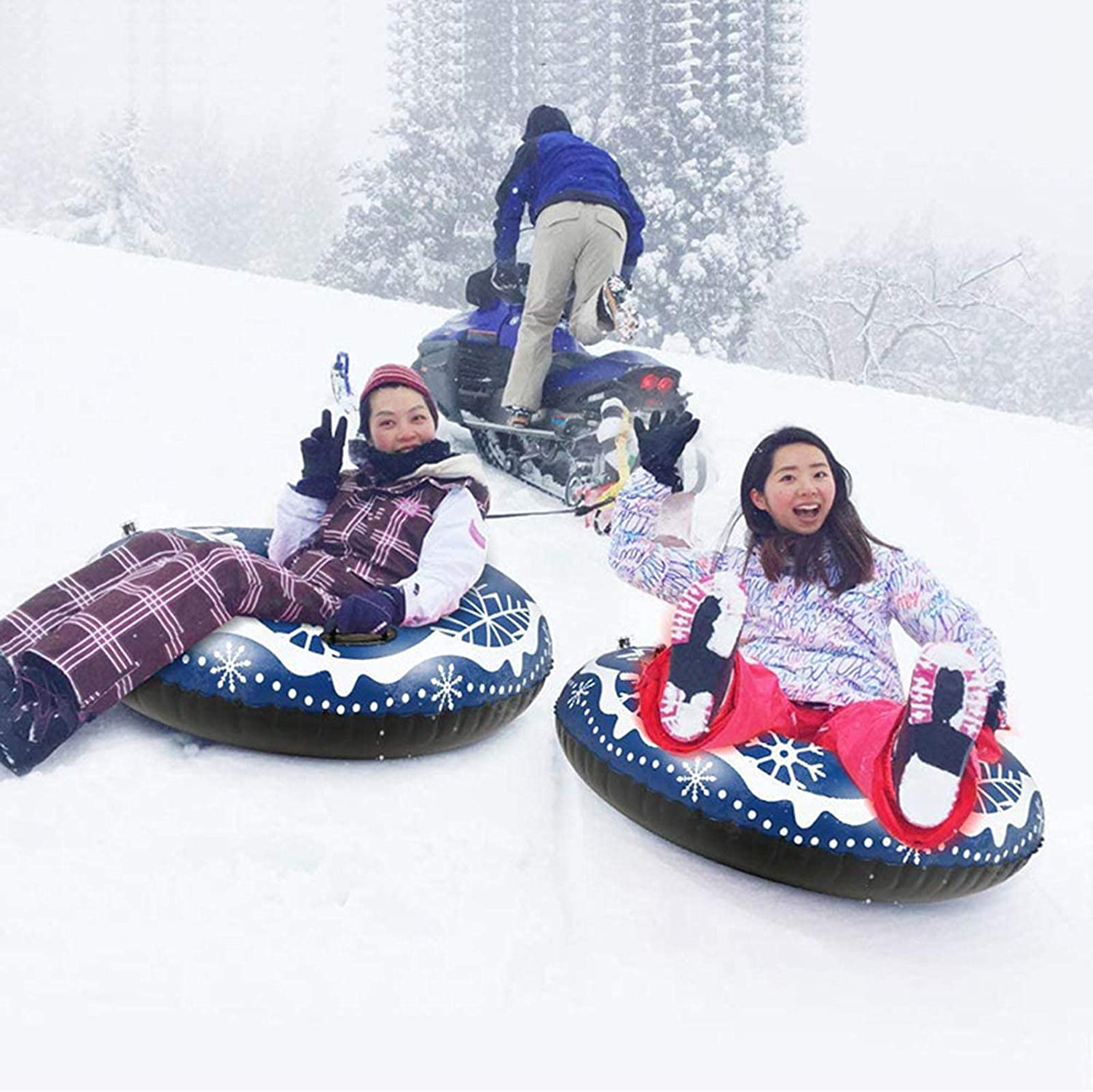AOSEE Inflatable sledge 47Inch Inflatable Snow Tube for Kids and Adults,Thick 0.6mm PVC Snow Tubes Inflatable Float with Handles for Winter Outdoor Sledding