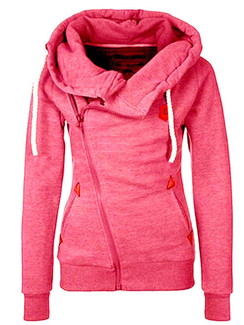 FANTIGO Women's Oblique Zipper Hoodie Sweatshirt Slim Fit Coat CFTG220002