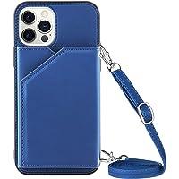 Portemonnee Creditcardhouder met Lanyard Telefoon Case voor iPhone 12 Pro Max (6,7 inch) (blauw)