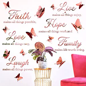 3D Acrylic Mirror Wall Decor Stickers Faith Hope Love Laugh Family Live Motivational Wall Decal Sticker with 12 Pieces 3D Butterfly for Home Office School Teen Dorm Room Mirror Wall Decor (Rose Gold)