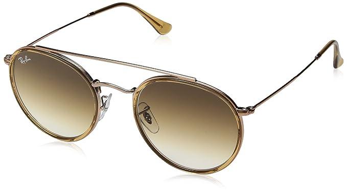 35be12bc4d38 RAYBAN JUNIOR Unisex-Erwachsene Sonnenbrille Round Double Bridge Light  Brown Cleargradientbrown