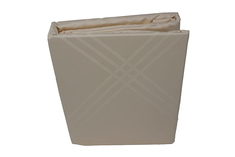 Damask Diamond 300TC 100% Combed Cotton Ivory Duvet Cover (King) Highland Feather