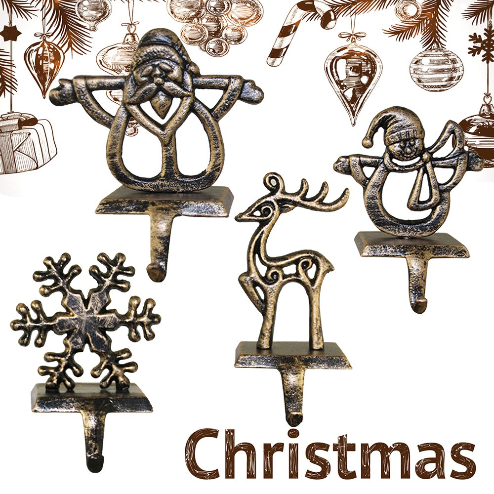 Librao Christmas Stocking Hanger Snowflake Hooks Holder Heavy Xmas Ornament Decorations Fireplace Mantel Decor Clips