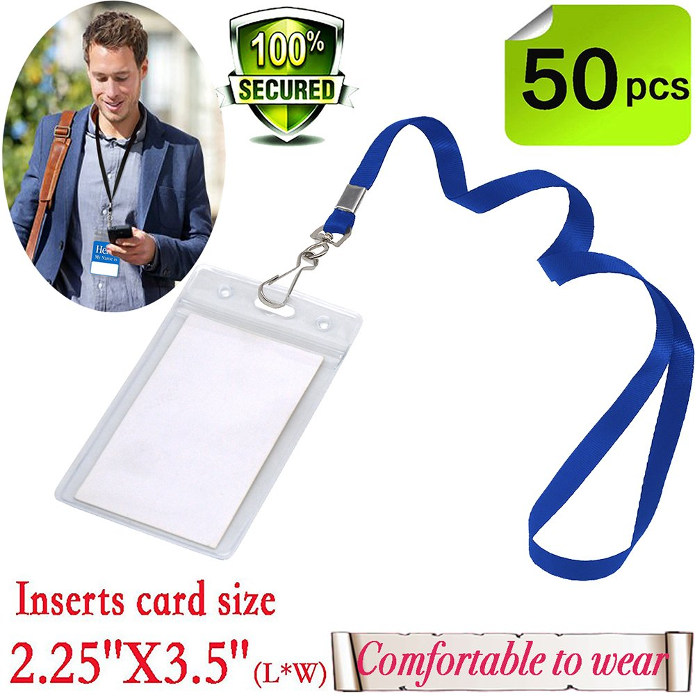 Name Tags with Lanyard Badge Holder Vertical ID with Blue lanyards Woven -Kids Name Labels School Camp Trip Church Trade Show Event Conference Holders(Blue Vertical ID 50 Pack)