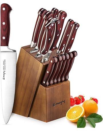 Emojoy Juegos Cuchillos Cocina,Set Cuchillos de 15 Piezas, Cuchillos de Cocina Profesionales con