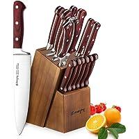 Emojoy Juegos Cuchillos Cocina,Set Cuchillos de 15 Piezas, Cuchillos de Cocina Profesionales con Bloque de Madera Acero Inoxidable Alemán