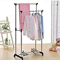 Thrivanta Portable Double Pole Telescoplc Clothes Rack, Foldable Dual Clothes and Garment Hanging Rolling Bar Rail Rack, Laundry Drying Stand with Wheels for Indoor and Outdoor-Silver