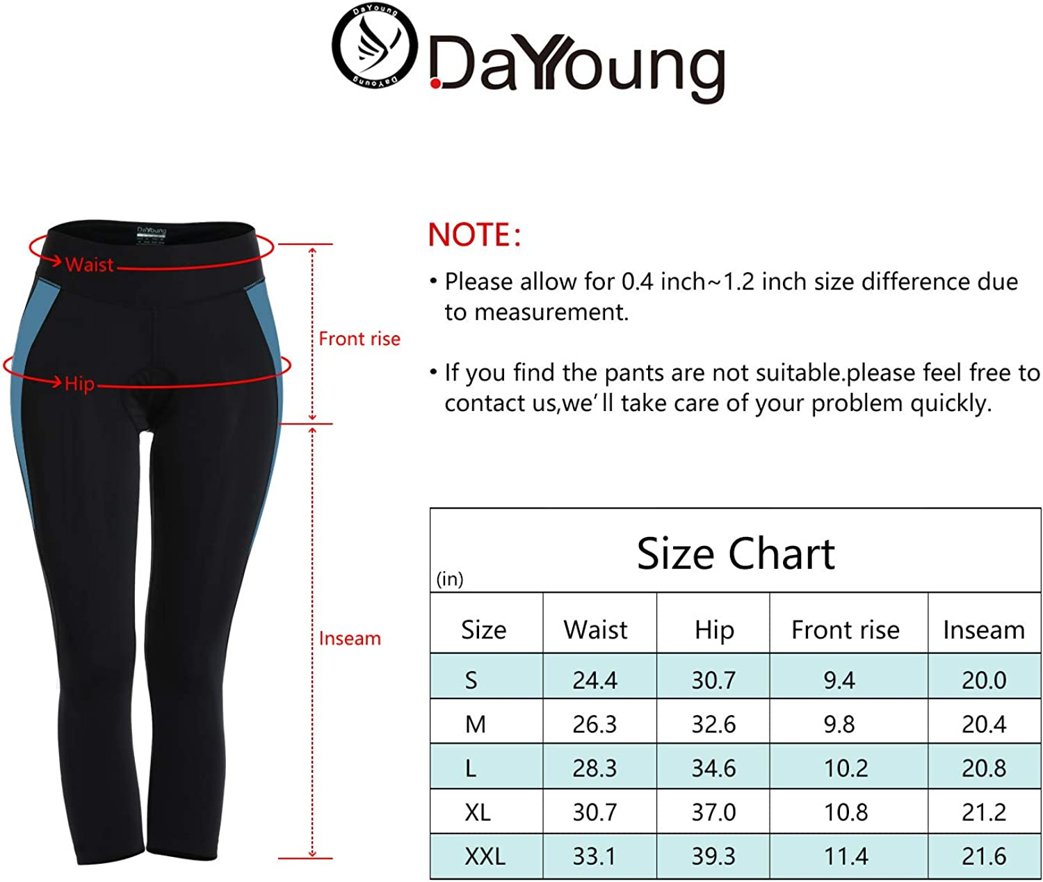 DAYOUNG Bike Cycling Tights for Women 3D Padded Leggings Capri Biking Bicycle Breathable Quick Dry Shorts