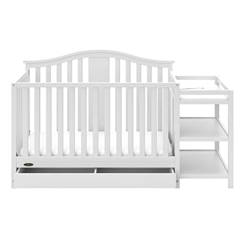 Storkcraft Graco Solano 4-in-1 Convertible Crib and Changer with Drawer, Fixed Side Crib, Assembly Required Mattress Not Included , White
