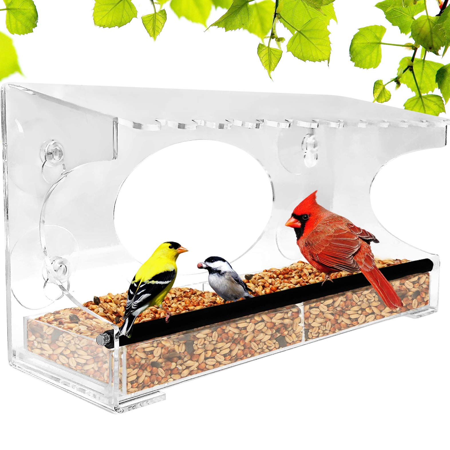 Window Bird Feeder - 2019 Model - Extended Roof - Steel Perch - Sliding Feed Tray Drains Water - See Wild Birds Up Close! - Large