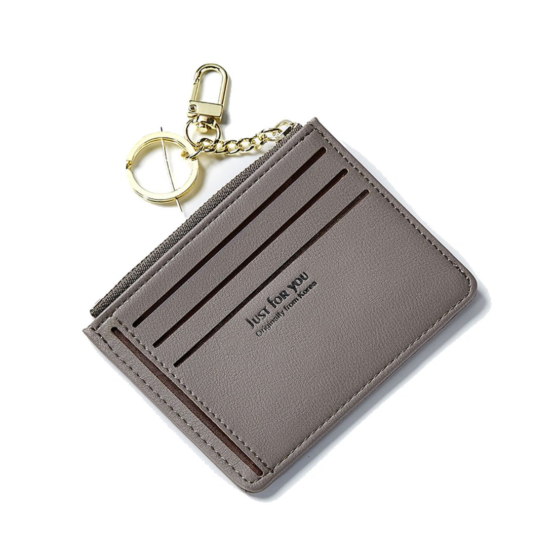 Slim Wallet Women Cute Purse Super Thin Card Holder Compact Pocket Mini Pouch With ID Card Window Keychain Teengirls Grey
