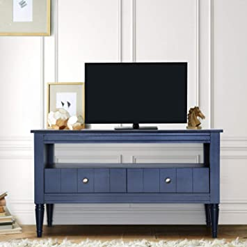 Pellebant 40 Inch Tv Stand Media Console Table With Wood Storage Cabinet Modern Entertainment Center For Flat Screen Tv Gaming Consoles In Living Room Entertainment Room Blue Electronics