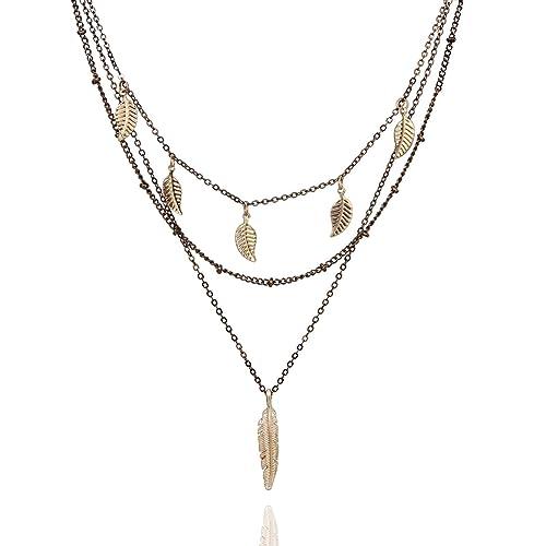 459a0b7b321e Amazon.com  POMINA Layered Leaf Pendant Necklace Boho Style Chic Layered  Necklace (Worn Choco Brown)  Jewelry