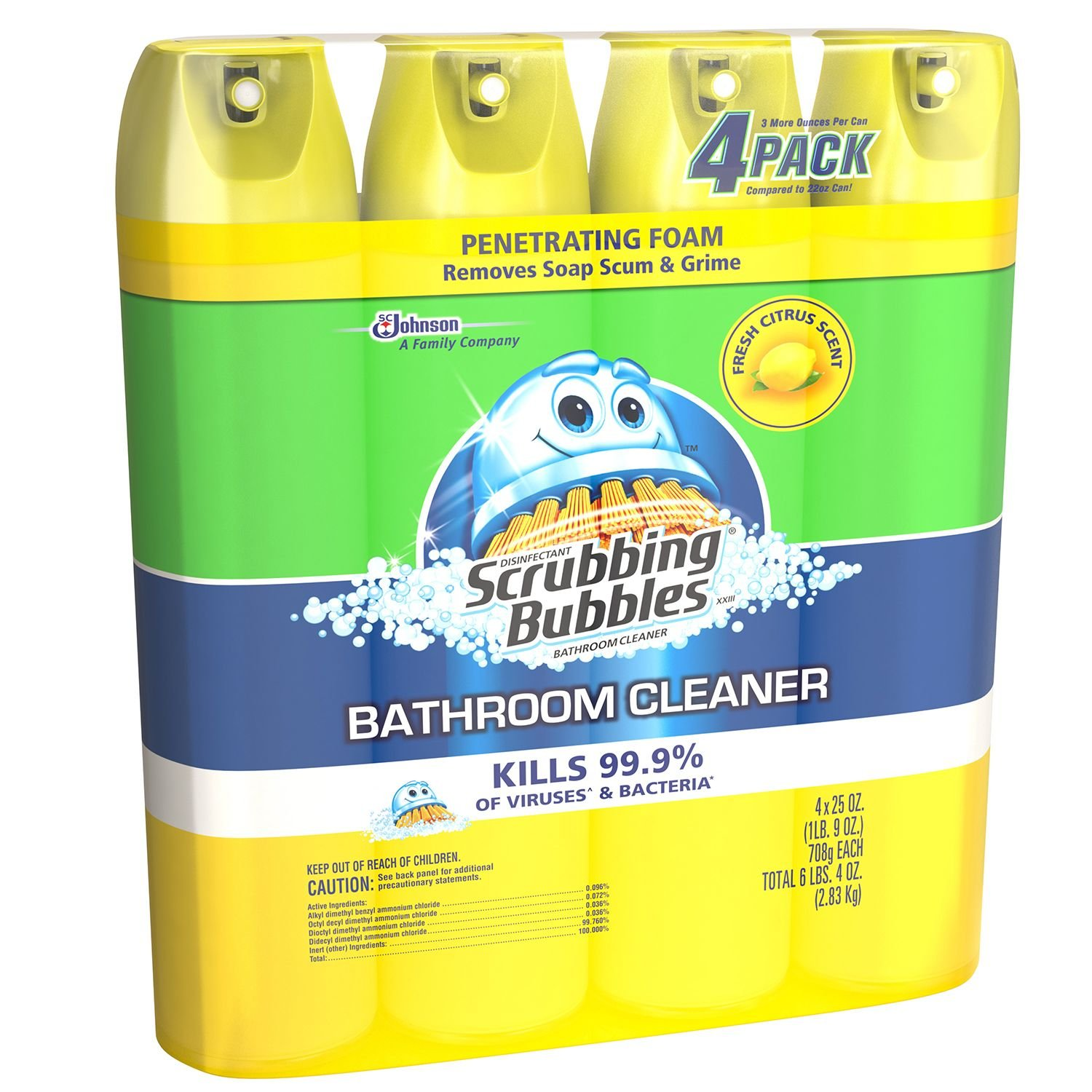 Scrubbing Bubbles Lemon Foaming Bathroom Cleaner, 25 Ounce (Pack of 4)