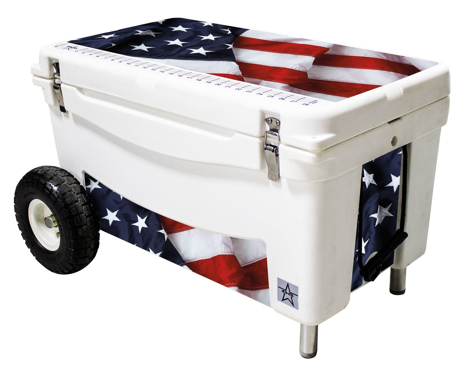 Frio Ice Chests 65Qt Extreme Wheeled White Hard Side with USA Theme Vinyl Wrap and Built-In Motion Sensitive Light Bar with Bottle Openers by Frio Ice Chests