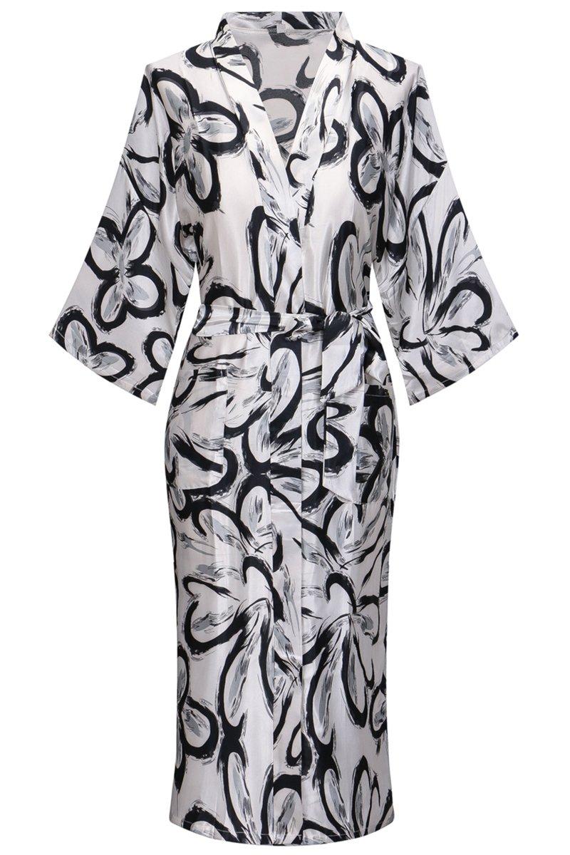 Yukata Women's Gorgeous Floral Print Satin Long Kimono Robe, XL
