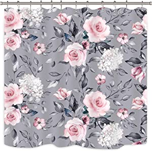 Riyidecor Floral Shower Curtain Pink Rose Rustic Blossom Flower Grey Chic Spring Leaves Garden Plants Fabric Waterproof Home Decor 12 Pack Plastic Hook 72x72 Inch