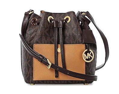 65f1ca6feb15a Amazon.com  Michael Kors Greenwich Bucket Bag - Brown Peanut  Shoes