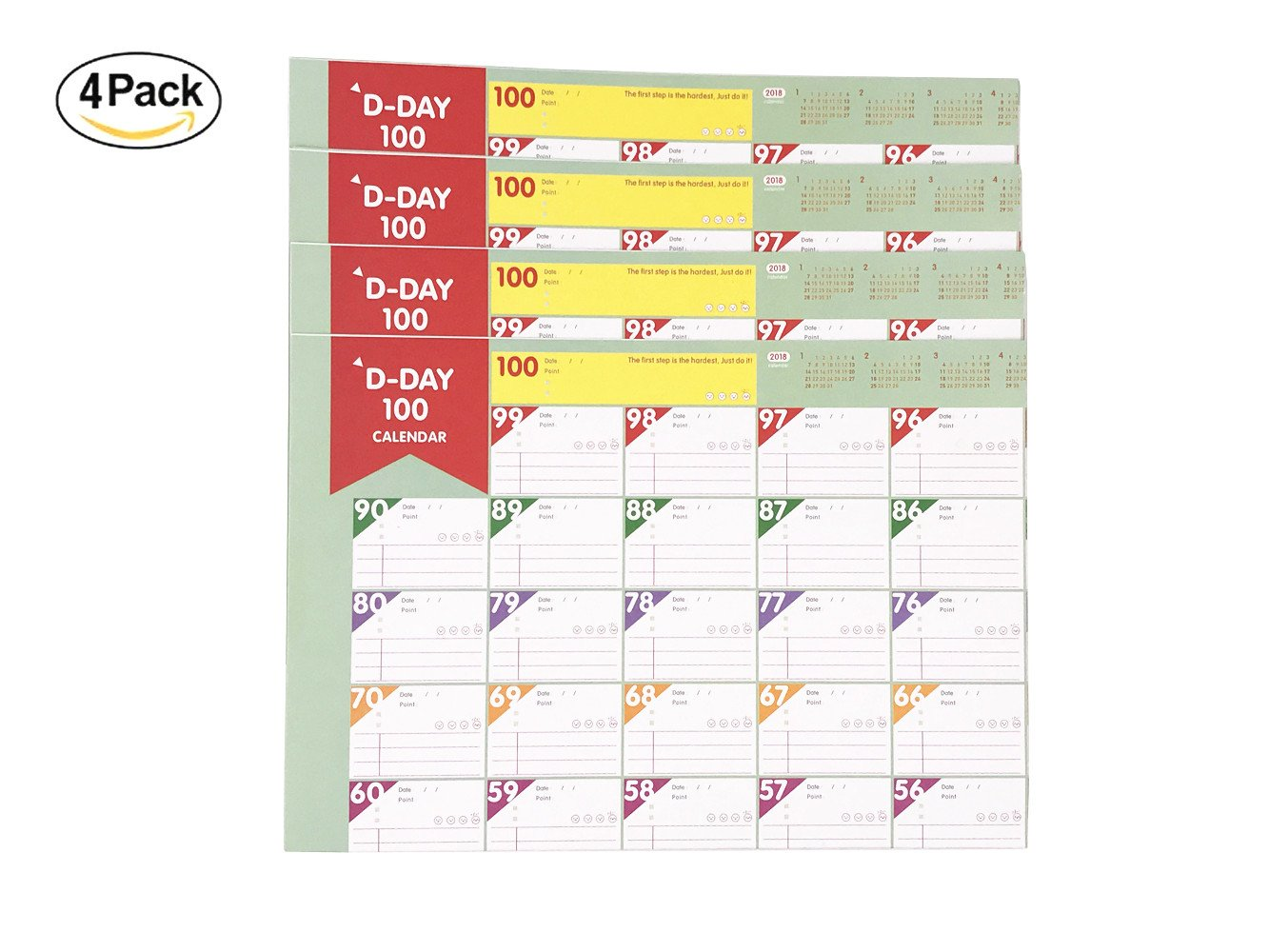100 Days 2018-2019 Planer Sheet - 4 Packs Countdown Schedule Wall Calendars Daily Weekly Months Planner Goals Organizer for Work/Study/Lose Weight