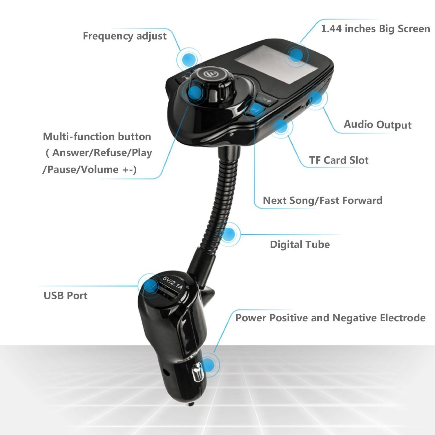 FM Transmitter Wireless Bluetooth FM Transmitter Car Kit Radio Receiver with 5V//2.1A USB Charger Output Support USB Flash Driver and Micro SD Card with AUX Ann Bully 4327064008