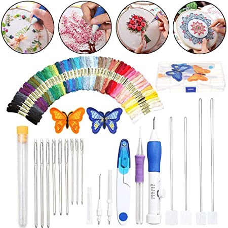 WElinks Embroidery Hoop Stitching Punch Needle Pen Sets DIY Craft Sewing Tool DIY Embroidery Pen Needle Set Thread Punch Stitching Knitting Kit Sewing Embroidery Cross Stitch Accessories A