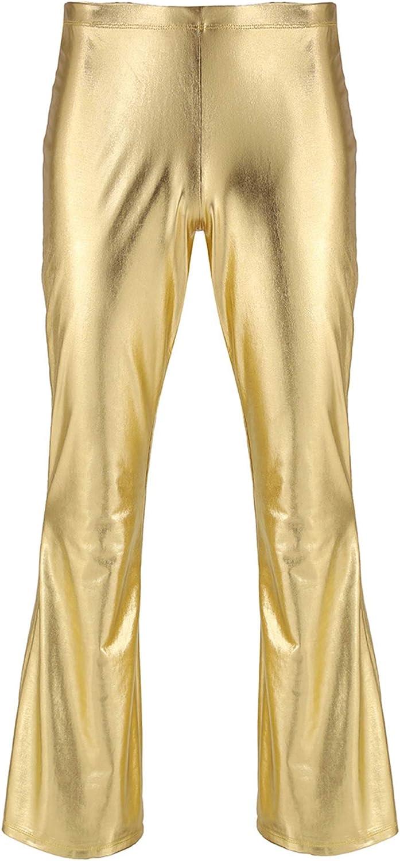 YONGHS Mens Shiny Metallic Wide Leg Pants 70s Disco Dance Bell Bottom Flared Trousers Clubwear