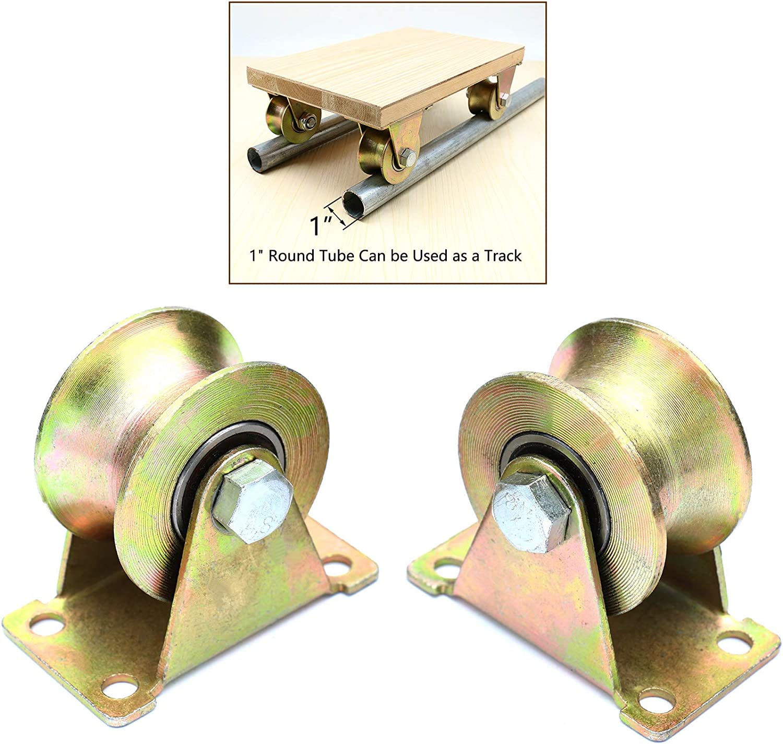 2Pcs 2/'/' 660lb V Groove Sliding Gate Roller Wheel Track Rail Bracket Garden Set