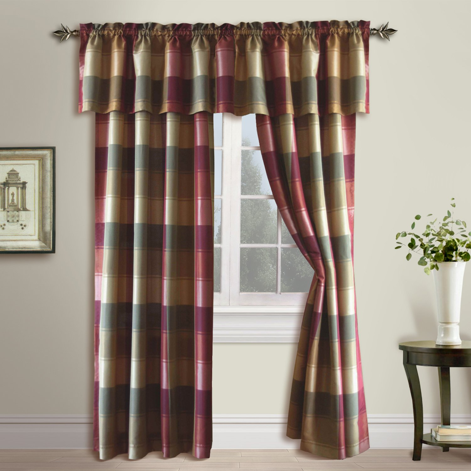Red plaid curtains - Amazon Com United Curtain Plaid Window Curtain Panel 54 By 84 Inch Burgundy Home Kitchen