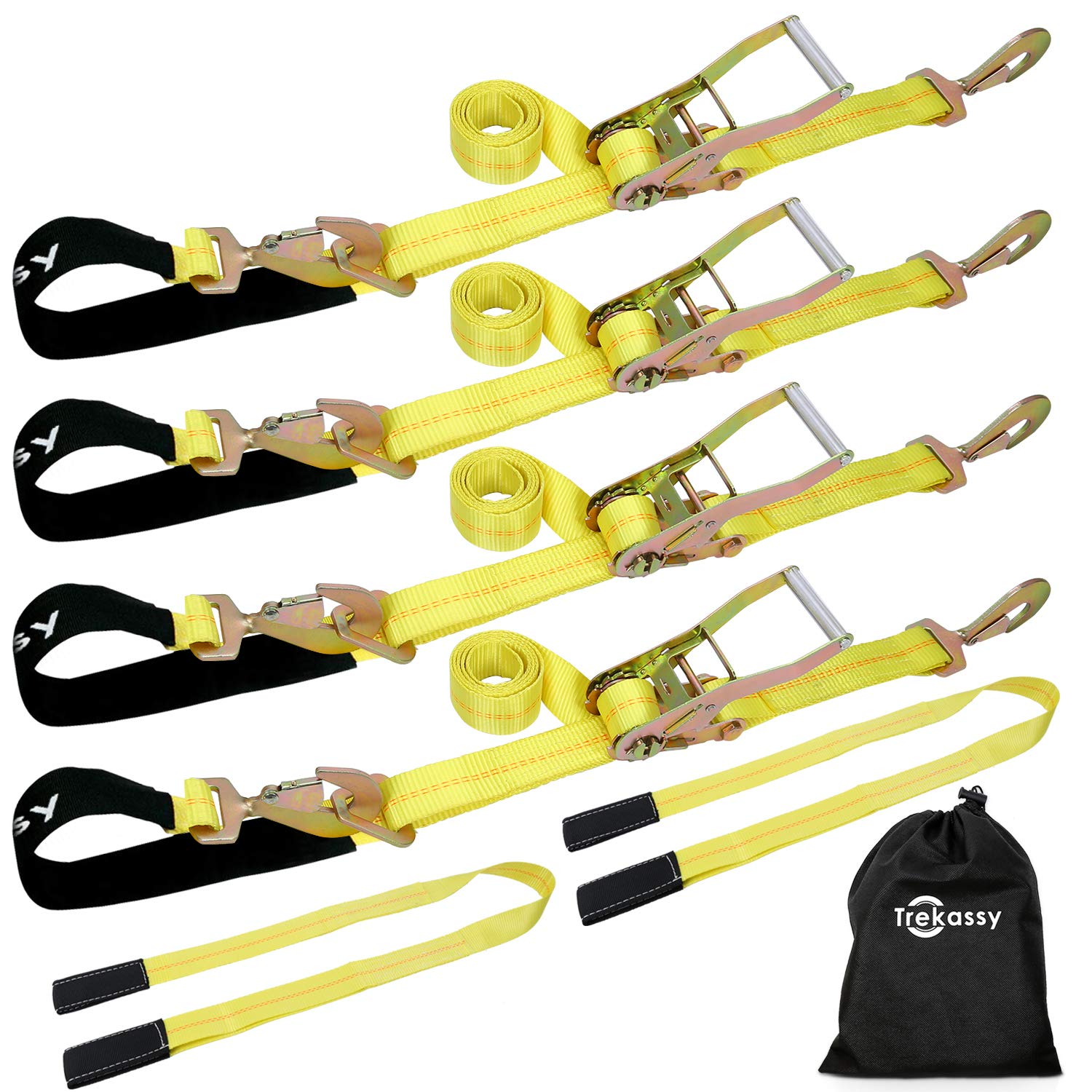 Trekassy 4 Pack Car Axle Straps Ratchet Tie Downs System with Snap Hooks, 2 Free Lift Sling Straps, 3,333lbs Safe Working Load by Trekassy