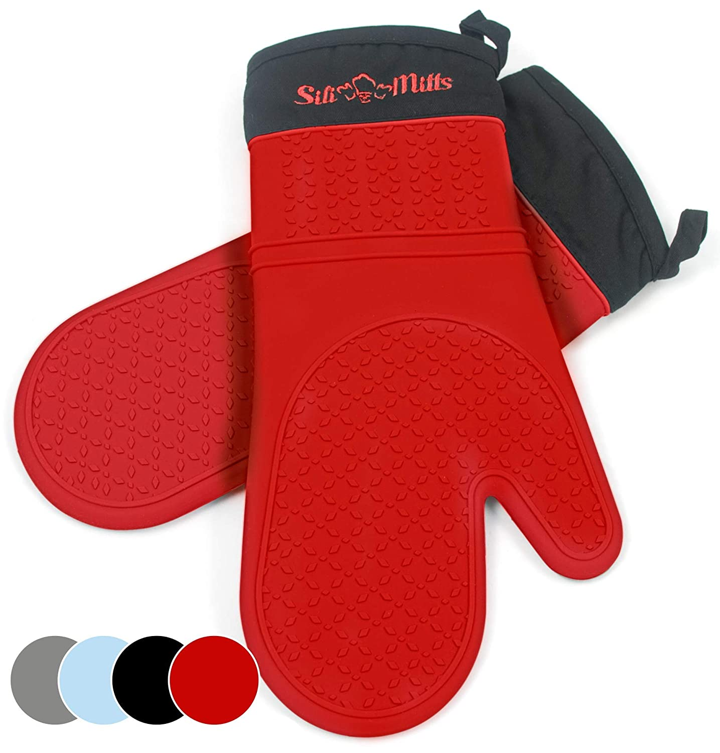 Frux Home and Yard Red Silicone Pot Holder Oven Mitts - 1 Pair of Extra Long Professional Heat Resistant Pot Holder & Baking Gloves - Food Safe, BPA Free FDA Approved with Soft Inner Lining