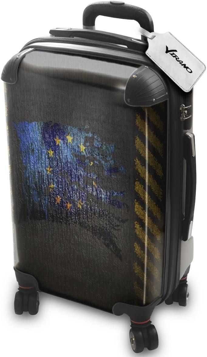 Bandera Rasgada EU, Policarbonato ABS Spinner Trolley Luggage Maleta Rigida Equipaje con 4 Ruedas de 360° con Diseño Intercambiable. Tamaño: Aprobado cabina S