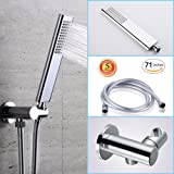 Brass handheld shower head set with high pressure single function hand shwoerhead,Adjustable shower holder Mount and 71 inches Non-Toxic PVC Flexible HandShower Head Hose for Bathroom Rain Shower