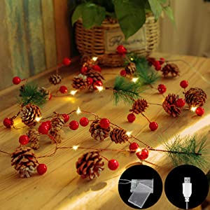 TOPIST Christmas Pinecone Lights Battery or USB Plug in, 6.56FT 20LED Red Berry with Pine Cone Christmas Garland Lights LED String Lights Fairy Lights for Xmas Tree Party Wedding Home Holiday Decor