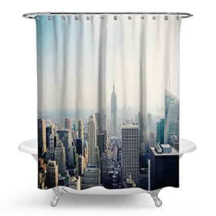 New York City NYC Shower Curtains With Hooks Waterproof Mildew Resistant 72 X Inches