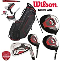 Wilson Prostaff All Graphite Shafted HDX Complete 11 Peice Golf Club Set 4 WOODS, 7 IRONS, Harmanized M1 Putter & Ionix Stand Bag New For 2017 Mens Right Hand