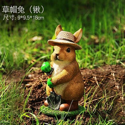Adornos de Exterior para el jardín Adornos de Animales Adornos de Conejo@Sombrero de Paja Conejo (锹): Amazon.es: Jardín