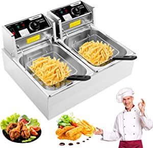 Casulo Deep Fryer Commercial Deep Fryer with Dual Baskets, 3600W 12L Countertop kitchen Frying Machine Stainless Steel Electric Deep Fryer for French Fries, Turkey, Donuts Home Kitchen Restaurant (12L, Silver)