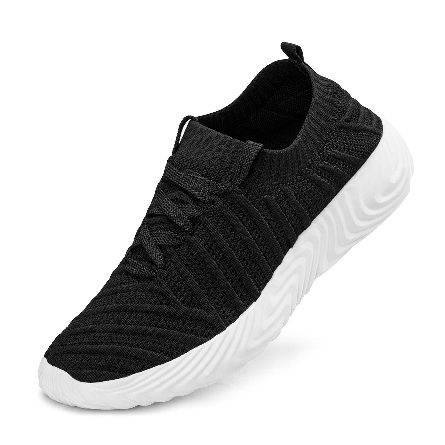 Black White ZOCAVIA Womens Walking shoes Knit Breathable Lightweight Slip On Tennis Running Gym Sneakers